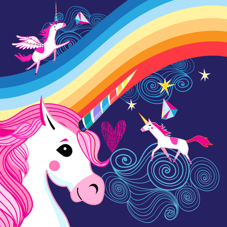 Vector bright poster with a rainbow and unicorns on a dark blue background Banco de Imagens - 98018430