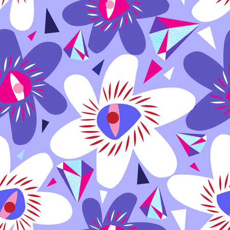 Vector bright seamless lilac pattern from different flowers. Design for wallpapers, business cards and websites.