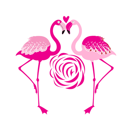 Vector illustration of an enamored pink flamingo on a white background Иллюстрация
