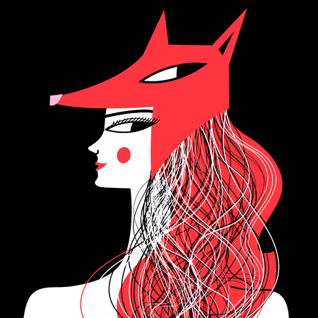 Vector graphic portrait of a woman fox on a dark background