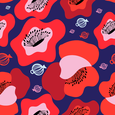 Vector seamless bright pattern of red poppies on blue