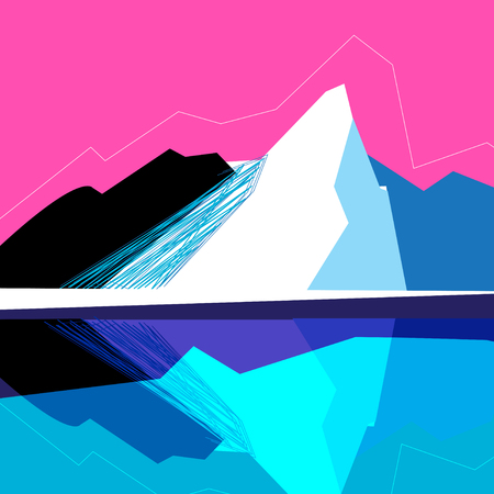 Vector mountain landscape on a pink background Banco de Imagens - 98680651
