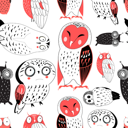 Vector seamless graphic pattern of funny owls on white