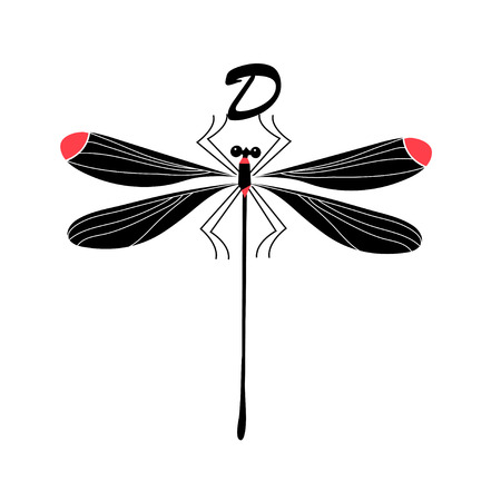 Vector silhouette of a dragonfly on white background