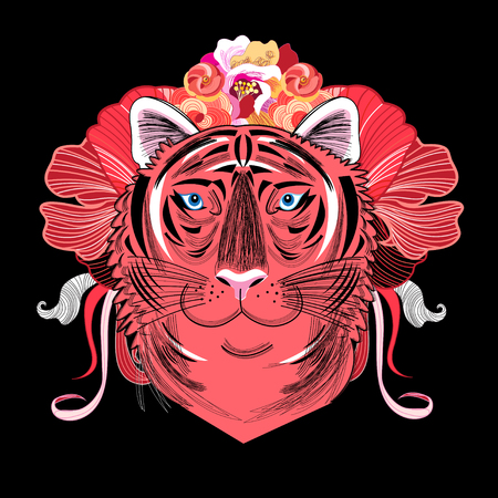 Vector portrait of a red tiger. Design for T-shirts, T-shirts and a friend.