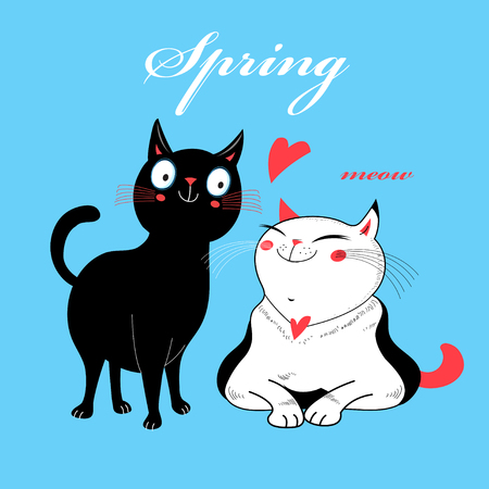 Vector in love cats. T-shirt Print. Love cards.Valentines Day animal print. Children illustration for school books and much more.