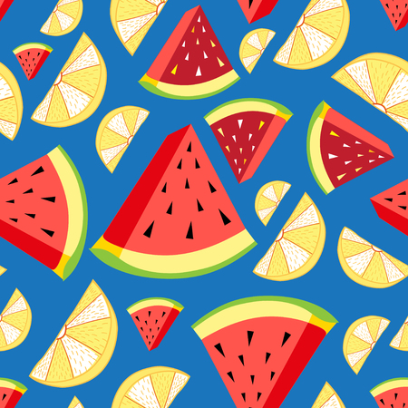 Vector helder patroon van citroenplakken en watermeloen op een blauwe achtergrond