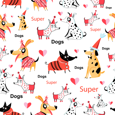 Seamless funny pattern of enamored funny dogs on a white background