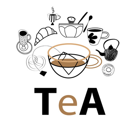 Vector postcard graphics of tea and pastries on a white background 向量圖像