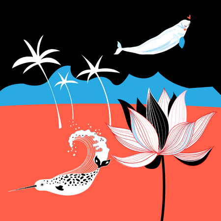 Vector tropical picture with palm trees and whales
