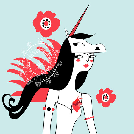 Vector graphic portrait of unicorn girl on a light background