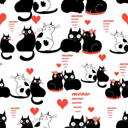 Cool pattern of funny loving cats on a light background Stockfoto - 99507233