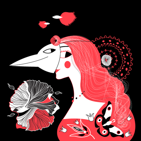 Vector graphic portrait of a beautiful girl in a birds mask