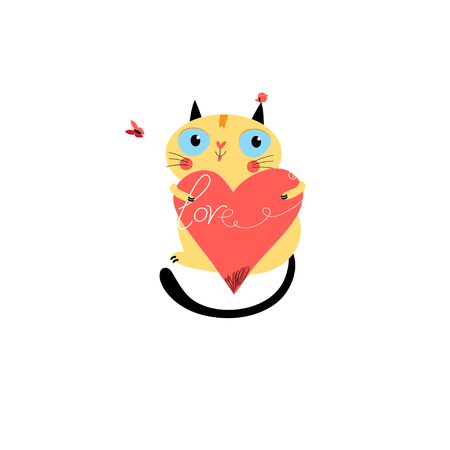Vector in love cat with heart on a white background