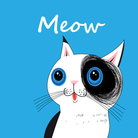 Vector portrait of a funny big cat on a blue background Illustration