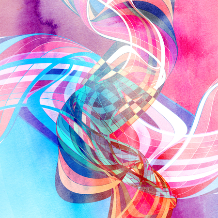 Abstract watercolor colored background with wavy elements 版權商用圖片