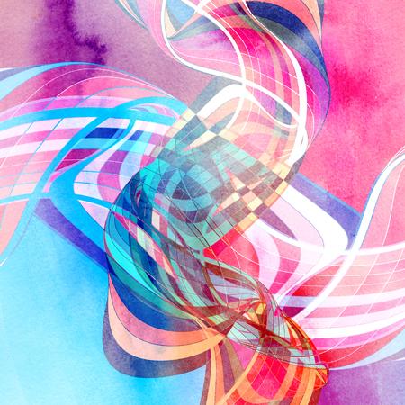 Fondo de color acuarela abstracto con elementos ondulados Foto de archivo - 100102202