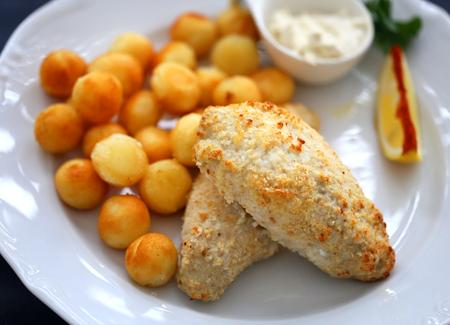 Photo of a macro fish dish with potatoes restaurant