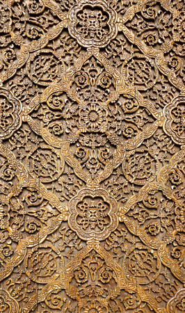 Background about oriental asian wooden ornament on the door Standard-Bild - 100661410