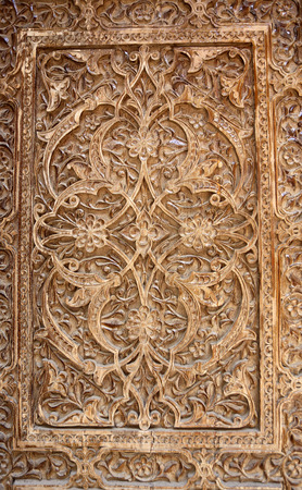 Background about oriental asian wooden ornament on the door