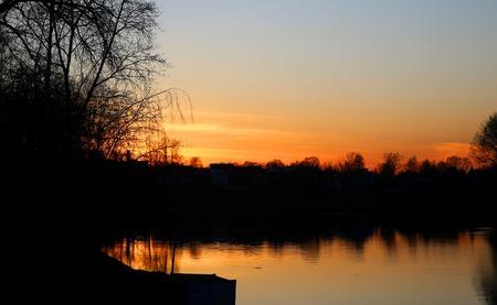 Stock Foto Beautiful sunset on the river Stok Fotoğraf