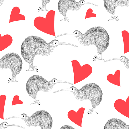 Seamless pattern of enamored kiwi with hearts on a white background