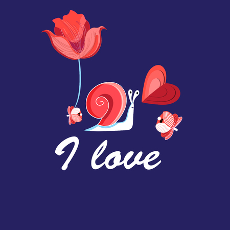 Illustration of an enamored funny snail with a heart on a blue background. Design for a card, website and business card.