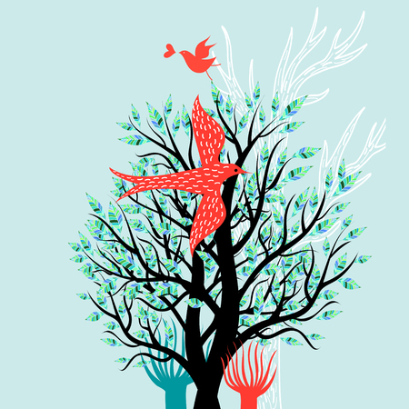 Illustration of a spring tree and enamored birds on a light background Иллюстрация