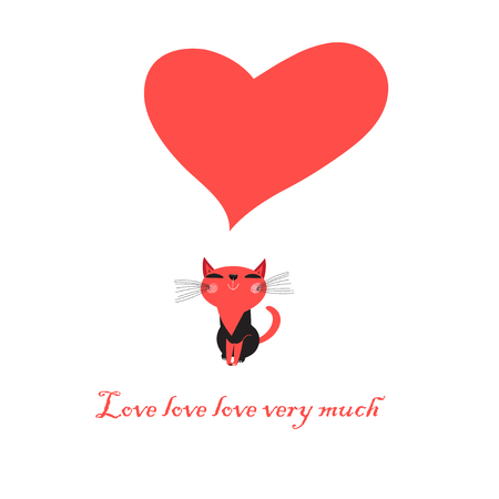Bright greeting card with love cat with heart on white background Çizim