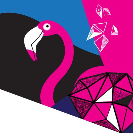 Graphics Poster beautiful pink Flamingo on dark background Illustration