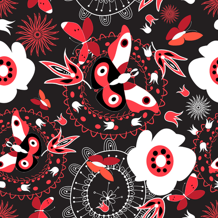 Bright summer seamless pattern with butterflies and flowers on a dark background Stock Illustratie