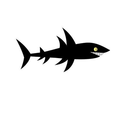 Vector black shark sign on white background