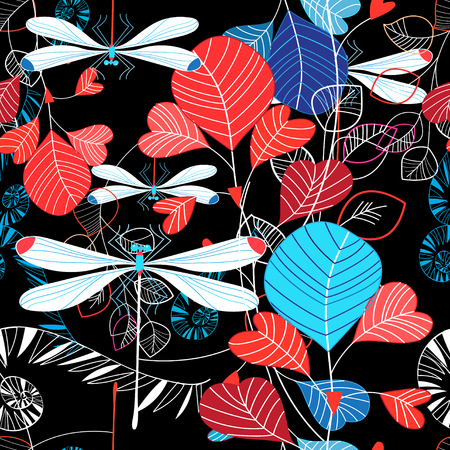 Seamless pattern illustration of summer leaves and dragonfly on dark background