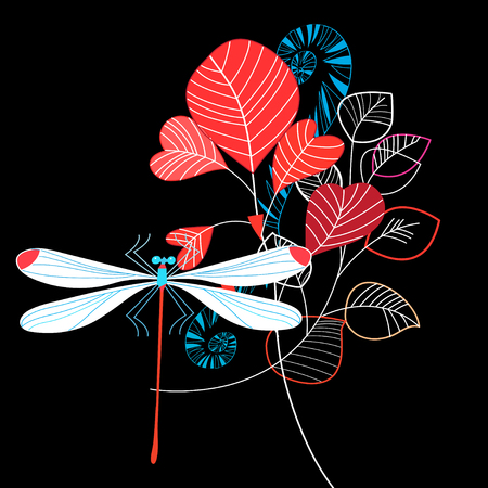 Beauty Vivid illustration of summer leaves and dragonfly on dark background Illustration