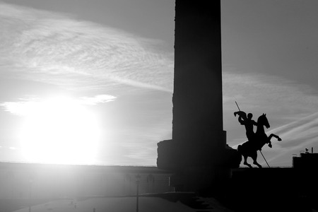Photo of a heroic monument in Victory Park in Moscow