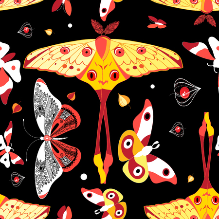 Seamless bright colorful pattern with different butterflies on a dark background