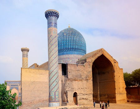 Photo scenery splendid mosque in Samarkand sunny day