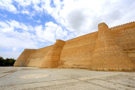 Photo of a beautiful large Ark fortress on a sunny day in Uzbekistan Stock Photo