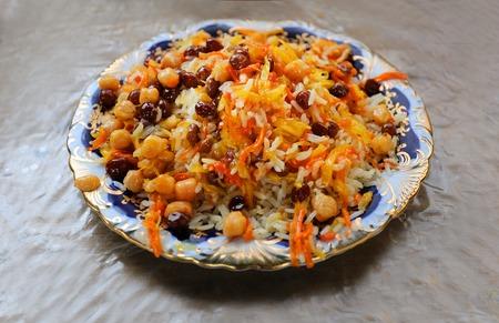 Macro photo of delicious risotto with raisins in Uzbekistan