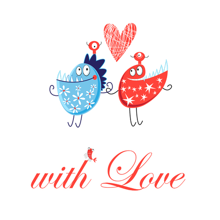 Love greeting card with funny monsters on a white background. Çizim
