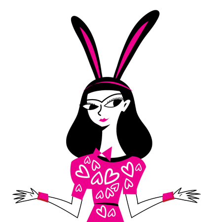 Illustration of masquerade beautiful girl with rabbit ears on white background