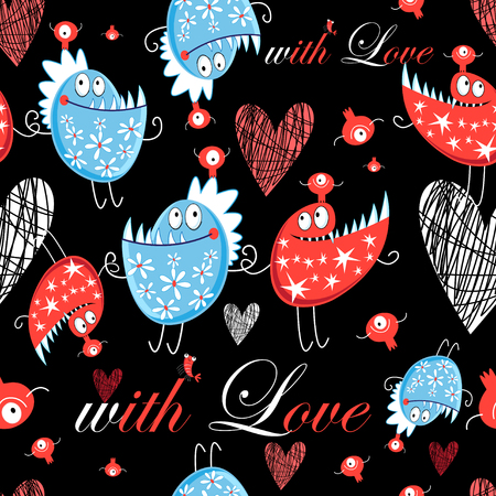 Seamless Jolly pattern with lovers monsters on a dark background