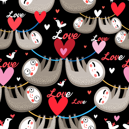 Seamless cartoon images of lovers lemurs pattern on dark background Vettoriali