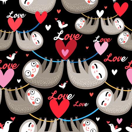 Seamless cartoon images of lovers lemurs pattern on dark background Illustration