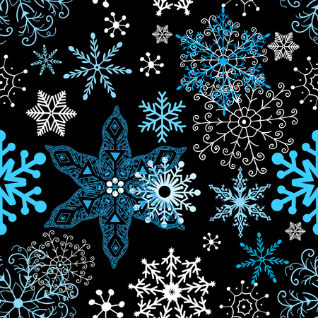 Seamless winter pattern of different snowflakes on dark background