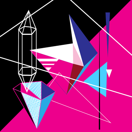 Abstract vector bright poster with geometric shapes. Иллюстрация