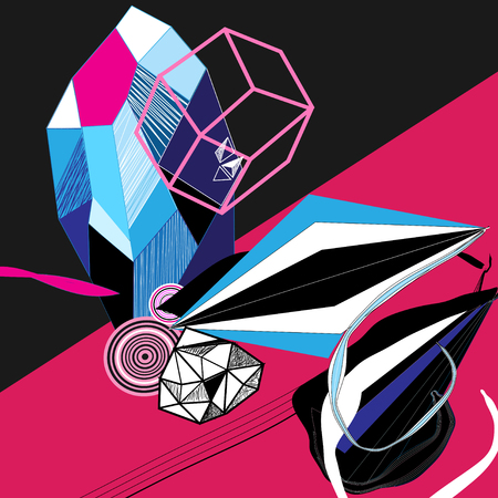 Abstract vector bright poster with geometric shapes Illustration