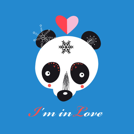 llustration of funny loving Teddy bear Panda on blue background Çizim