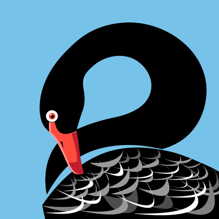 Vector illustration of a large portrait of a black Swan on a blue background