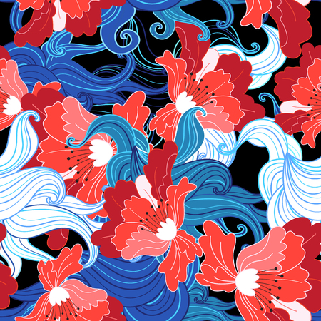 Seamless beautiful bright vector summer floral pattern